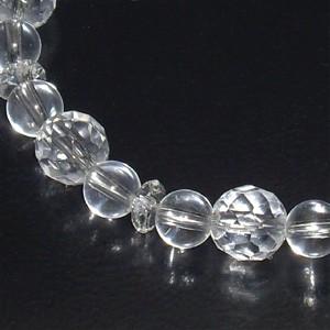 カット水晶・水晶(クリスタル)ブレスレット 8mm (レディースLサイズ) 天然石/パワーストーン/4月/誕生石