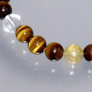 黄トラ目(タイガーアイ)・ルチルクォーツ・水晶ブレスレット 8mm (メンズLサイズ) 天然石 パワーストーン 針水晶