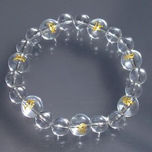 梵字水晶10mm玉(金字)・水晶ブレスレット (レディースMサイズ)