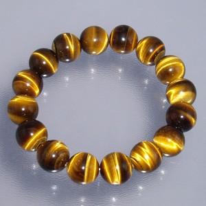 12mm 16.5〜19cm 黄トラ目石(タイガーアイ)ブレスレット (メンズS〜Lサイズ)/天然石/メンズ/パワーストーン/ギフト