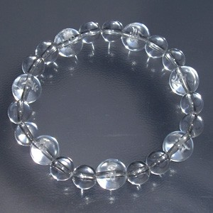梵字水晶10mm玉(白字)・水晶ブレスレット (レディースMサイズ)