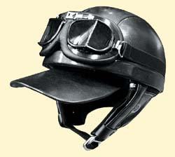 ゴーグル&バイザー&耳あて付き! レザーハーフヘルメット バンディット/ダムトラックス/DAMMTRAX/ヘルメット