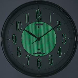リズム時計工業 CITIZEN シチズン 電波壁掛け時計 ネムリーナM416 8MY416-019 シルバーメタリック アナログ 掛時計 ナチュライト付き