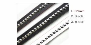 存在感ある☆ピラミッドスタッズレザーベルト[ブラック(黒)/ブラウン(茶)/ホワイト(白)]革ベルト