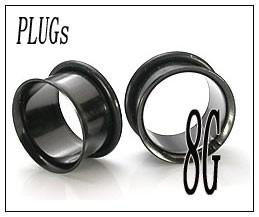ボディピアス シングルフレア ブラック PLUGSジュエリー(8G)