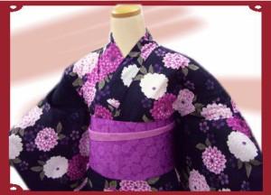 夏粋浴衣・帯・下駄or髪飾3点セット♪黒地紫白菊