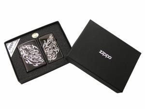 【ZIPPO】ジッポー 定価13,650円(税込) スカルタトゥーペア ブラックミラー