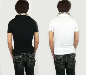 SPINASH 肩章付蛇柄二重襟ポロシャツ