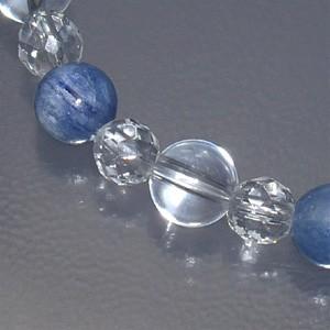8mm 18.5cm カヤナイト(カイヤナイト)・カット水晶・水晶ブレスレット (レディースLLサイズ) 天然石・パワーストーン ヒーリング