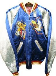 VINTAGE スカジャン 1950S Japan ブルー/バーガンディ size -(M) (Souvenir Jacket)