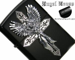 ZIPPO/ハードメタルジッポー エンジェル&クロス ブラック