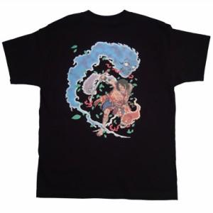 和柄Tシャツ むかしむかし 悪霊退散_黒