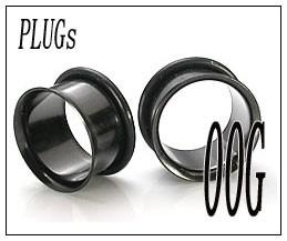 ボディピアス シングルフレア ブラック PLUGSジュエリー(00G)