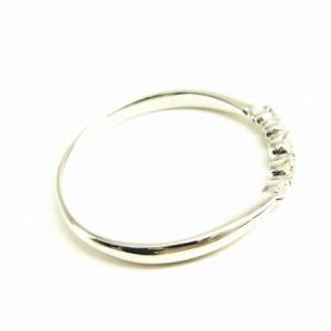 K18WG*ホワイトゴールド天然ダイヤモンド0.15ct5ポイントエレガントリング 送料無料