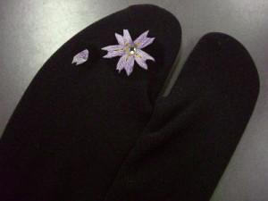 振袖成人式&袴&着物に ラインストーン刺繍ストレッチ足袋桜黒