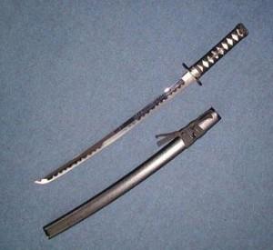 美術模造刀剣 黒石目 小刀 AB-110