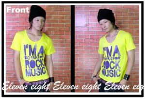 メール便なら送料無料!BIGビビットメッセロゴTシャツ☆黄紫BIGビビットメッセージロゴ【022-701a】