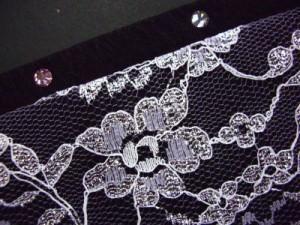 振袖成人式&卒業式袴・着物に ラインストーンとレースの重ね衿伊達襟黒