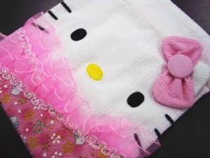 和×キティちゃんコラボ 和柄平巾着・小物入れピンクリボン