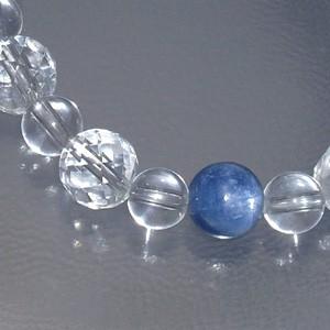 8mm 16cm カヤナイト(カイヤナイト)・カット水晶ブレスレット (レディースSサイズ) 天然石・パワーストーン ヒーリング