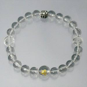 梵字水晶10mm玉(金字)・龍/朱雀彫り水晶・シルバーパーツ・水晶ブレスレット (メンズLサイズ)