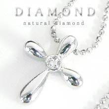 【dia2】★送料無料★本物です♪クロス天然ダイヤモンドネックレス!!高級pt加工