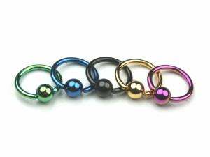 【メール便 送料無料】キャプティブビーズリング カラー16GA(1.2mm) BCR ステンレス Anodized加工【ボディピアス/ボディーピアス】 ┃