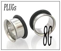 ボディピアス シングルフレア PLUGSジュエリー(8G)