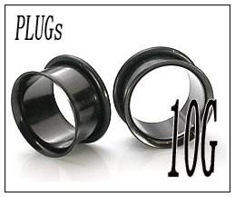 ボディピアス シングルフレア ブラック PLUGSジュエリー(10G)