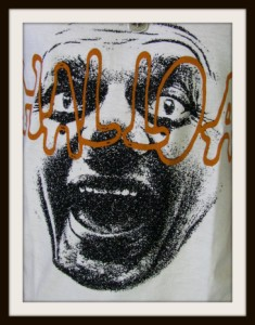 【メール便対応商品】【在庫一掃セール】ストレッチガーゼ人顔プリントTシャツ【022-059AST]