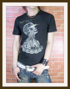 【メール便対応商品】【在庫一掃セール】【DRAKKAR】サイコ系ゴールドプリントTシャツ【dr-002】