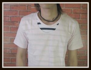 【メール便対応商品】【在庫一掃セール】フェイクレイヤード半袖重ね着風カットソー【型番sph-8302】