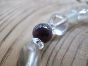 7月誕生石 ルビー&ハート水晶ブレス8mm