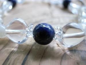 9月誕生石ラピスラズリ&ハート水晶ブレス8mm