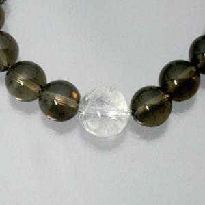 ◆龍/朱雀彫り水晶12mm玉 17.5cm◆シルバーパーツ・スモーキークォーツブレスレット (メンズMサイズ)