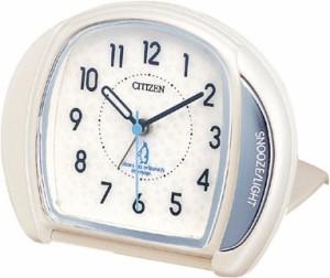 リズム時計工業 CITIZEN シチズン アラーム目覚まし時計 マイティ 4GE961-003白パール アナログ トラベルクロック 旅行 携帯 ライト付き