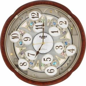リズム時計工業 電波からくり時計 スモールワールドコンベルS 4MN480RH23 木目仕上 アナログ 壁掛け時計 掛時計 メロディー 音楽 仕掛け