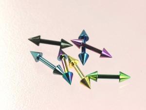 メール便 送料無料ショート バーベル コーン カラー 16GA(1.2mm)Anodized加工【ボディピアス/ボディーピアス/CONE】 ┃