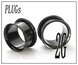 ボディピアス シングルフレアブラック PLUGSジュエリー(2G)