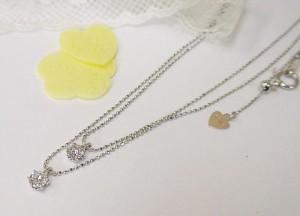 重なるダイヤモンド K18WGネックレス