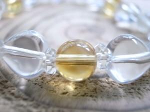 11月誕生石 シトリン&ハート水晶ブレス8mm