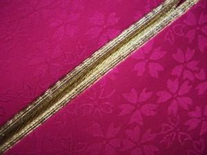 振袖成人式&卒業式袴に 2色使いの重ね衿濃ピンク金