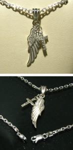 シルバー925 天使の翼十字架シルバーネックレス