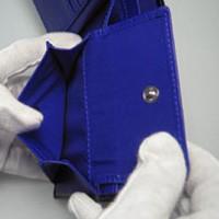 レア・希少品◆最新作◆DIABLOディアブロ高級2つ折短財布★青★馬革(コードバン)  【送料無料】
