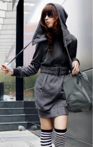 【送料無料】ケープ型ベルト付きパーカーワンピコート