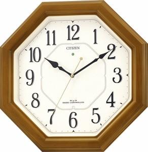 リズム時計工業 CITIZEN シチズン 電波壁掛け時計ネムリーナルック 4MY645-006 薄茶半艶仕上 アナログ 掛時計 ナチュライト付き