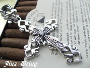 ■送料無料■特大!!十字架■ジルコニアオープンクロス■SVシルバー925PD