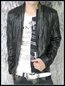 【在庫一掃セール】リアルフェイクレザー加工シワ2BJK☆黒【BL】【6140-2212】