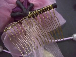 振袖&袴に♪髪飾り(コサージュ)紫&ピンク薔薇リボン