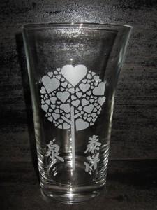 ★素敵なロンググラス♪<ラブラブ>結婚祝・誕生祝・クリスマス・プレゼント・ギフトに最適♪